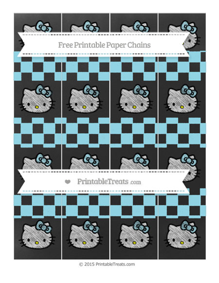 Free Pastel Aqua Blue Checker Pattern Chalk Style Hello Kitty Paper Chains