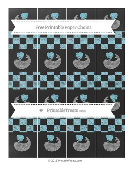 Free Pastel Aqua Blue Checker Pattern Chalk Style Whale Paper Chains