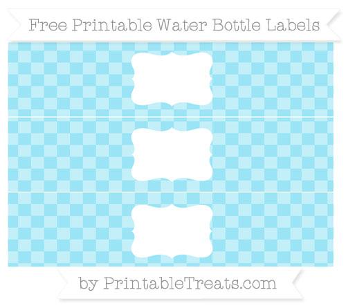 Free Pastel Aqua Blue Checker Pattern Water Bottle Labels