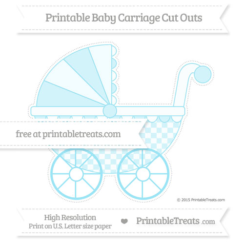 Free Pastel Aqua Blue Checker Pattern Extra Large Baby Carriage Cut Outs