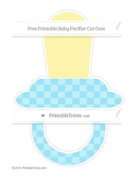 Free Pastel Aqua Blue Checker Pattern Extra Large Baby Pacifier Cut Outs