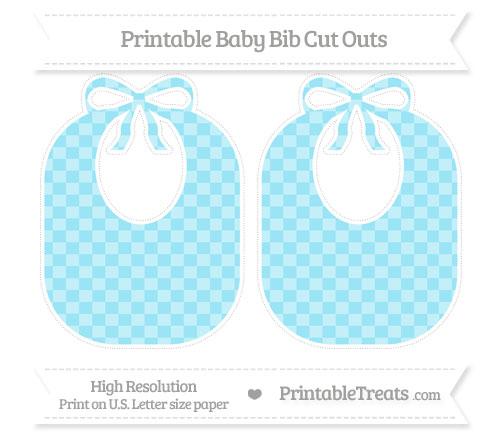 Free Pastel Aqua Blue Checker Pattern Large Baby Bib Cut Outs