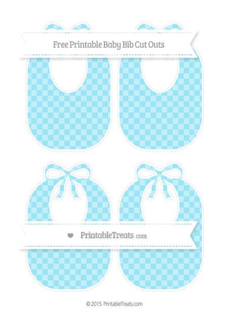 Free Pastel Aqua Blue Checker Pattern Medium Baby Bib Cut Outs