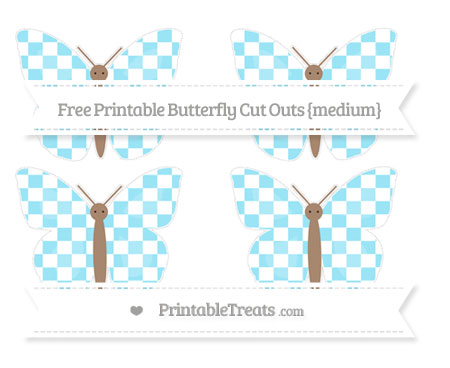 Free Pastel Aqua Blue Checker Pattern Medium Butterfly Cut Outs