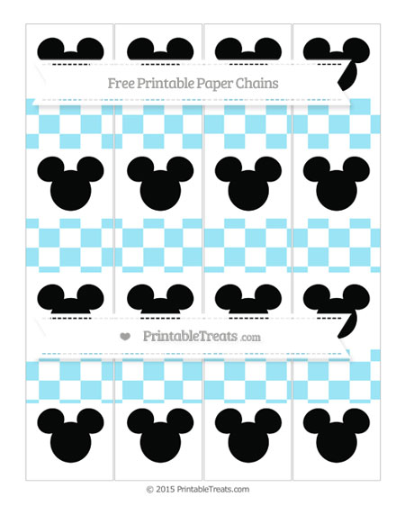 Free Pastel Aqua Blue Checker Pattern Mickey Mouse Paper Chains