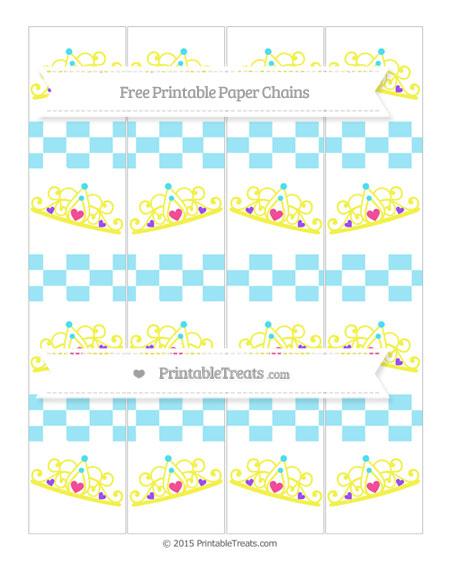 Free Pastel Aqua Blue Checker Pattern Princess Tiara Paper Chains