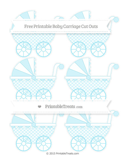 Free Pastel Aqua Blue Checker Pattern Small Baby Carriage Cut Outs