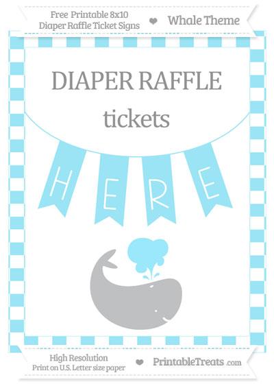 Free Pastel Aqua Blue Checker Pattern Whale 8x10 Diaper Raffle Ticket Sign