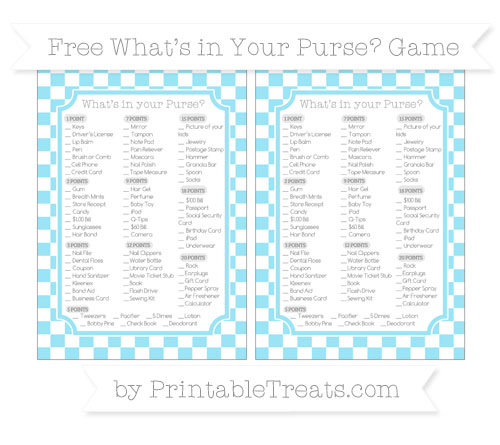 Free Pastel Aqua Blue Checker Pattern What's in Your Purse Baby Shower Game