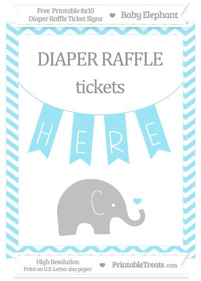 Free Pastel Aqua Blue Chevron Baby Elephant 8x10 Diaper Raffle Ticket Sign