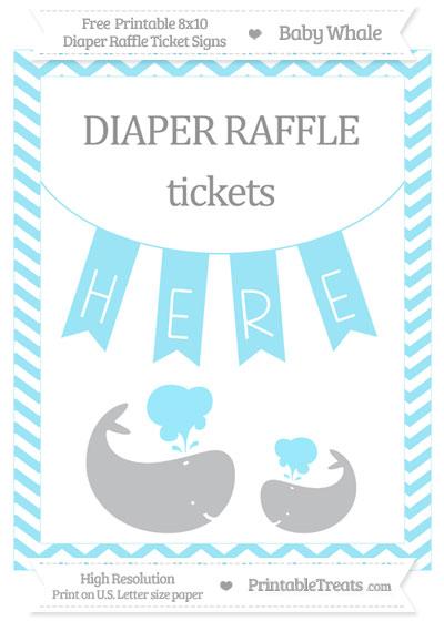 Free Pastel Aqua Blue Chevron Baby Whale 8x10 Diaper Raffle Ticket Sign