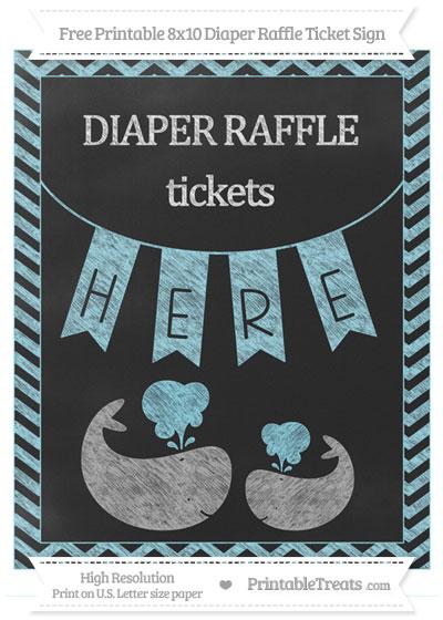 Free Pastel Aqua Blue Chevron Chalk Style Baby Whale 8x10 Diaper Raffle Ticket Sign