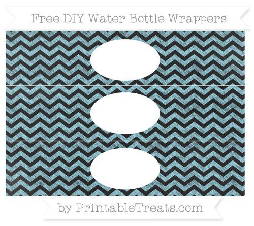 Free Pastel Aqua Blue Chevron Chalk Style DIY Water Bottle Wrappers