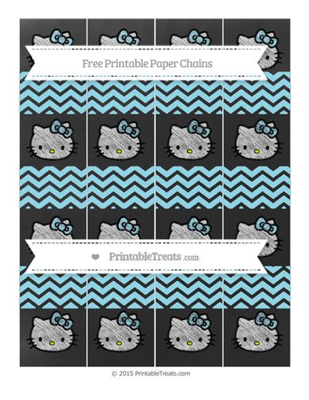 Free Pastel Aqua Blue Chevron Chalk Style Hello Kitty Paper Chains