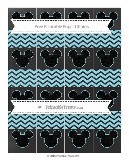 Free Pastel Aqua Blue Chevron Chalk Style Mickey Mouse Paper Chains