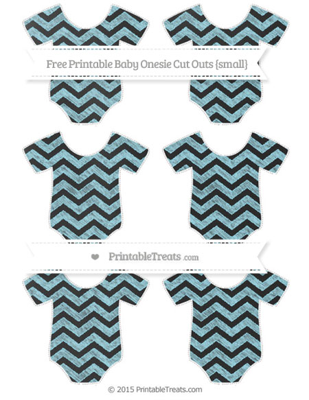 Free Pastel Aqua Blue Chevron Chalk Style Small Baby Onesie Cut Outs