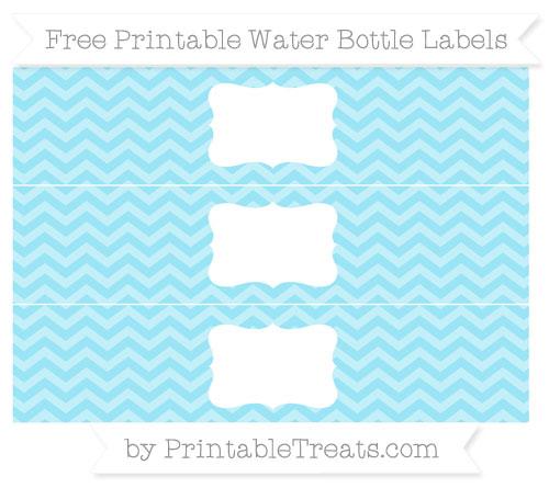 Free Pastel Aqua Blue Chevron Water Bottle Labels