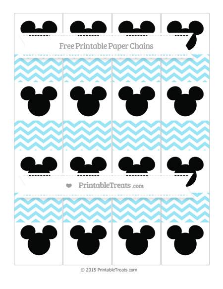 Free Pastel Aqua Blue Chevron Mickey Mouse Paper Chains