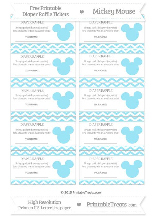 Free Pastel Aqua Blue Chevron Mickey Mouse Theme Diaper Raffle Tickets