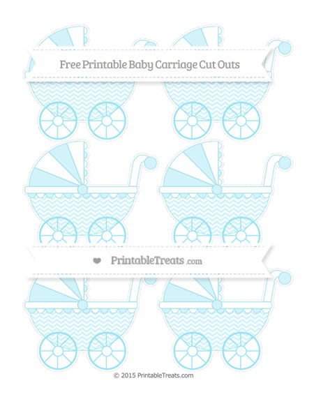 Free Pastel Aqua Blue Chevron Small Baby Carriage Cut Outs