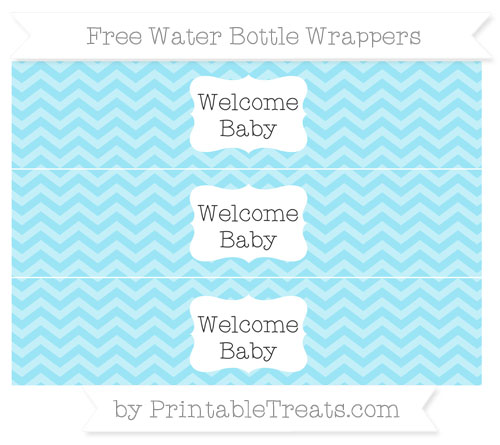 Free Pastel Aqua Blue Chevron Welcome Baby Water Bottle Wrappers