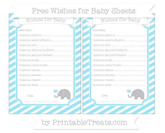 Free Pastel Aqua Blue Diagonal Striped Baby Elephant Wishes for Baby Sheets
