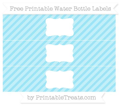 Free Pastel Aqua Blue Diagonal Striped Water Bottle Labels