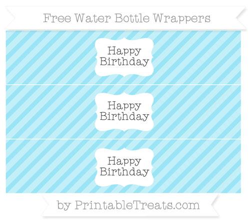 Free Pastel Aqua Blue Diagonal Striped Happy Birhtday Water Bottle Wrappers