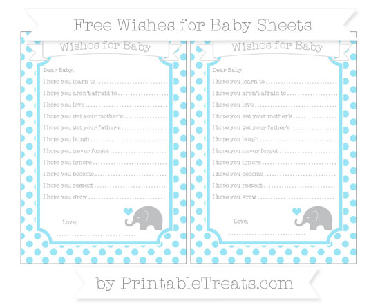 Free Pastel Aqua Blue Dotted Pattern Baby Elephant Wishes for Baby Sheets