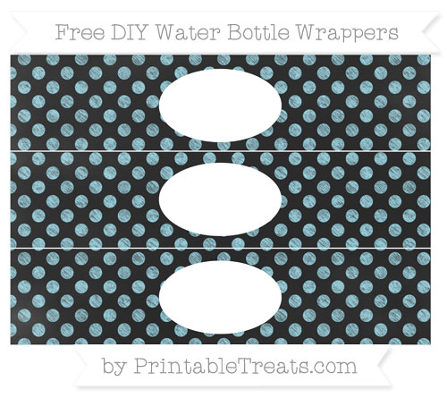 Free Pastel Aqua Blue Dotted Pattern Chalk Style DIY Water Bottle Wrappers