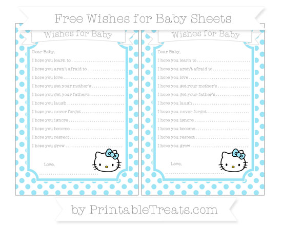 Free Pastel Aqua Blue Dotted Pattern Hello Kitty Wishes for Baby Sheets