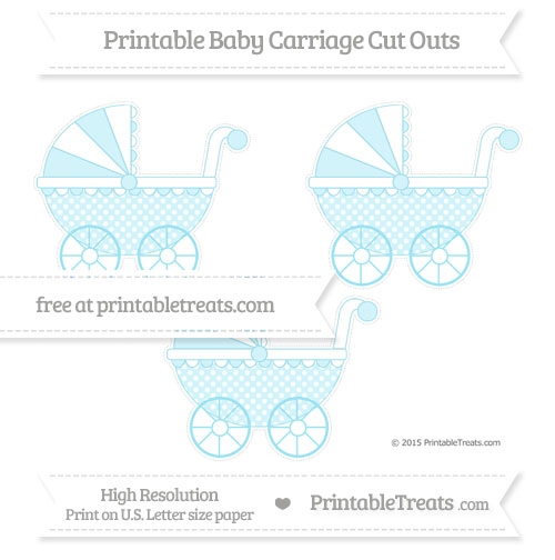 Free Pastel Aqua Blue Dotted Pattern Medium Baby Carriage Cut Outs