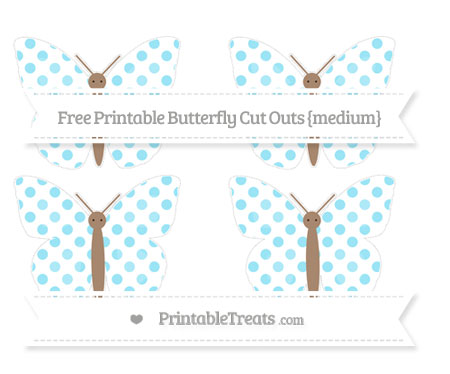 Free Pastel Aqua Blue Dotted Pattern Medium Butterfly Cut Outs