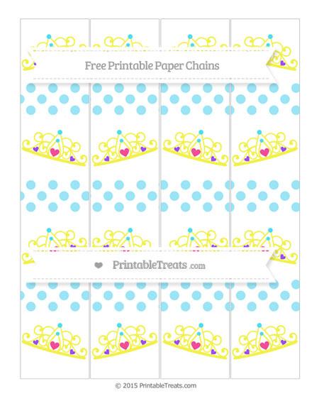 Free Pastel Aqua Blue Dotted Pattern Princess Tiara Paper Chains