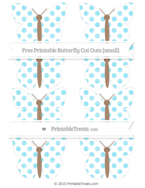 Free Pastel Aqua Blue Dotted Pattern Small Butterfly Cut Outs