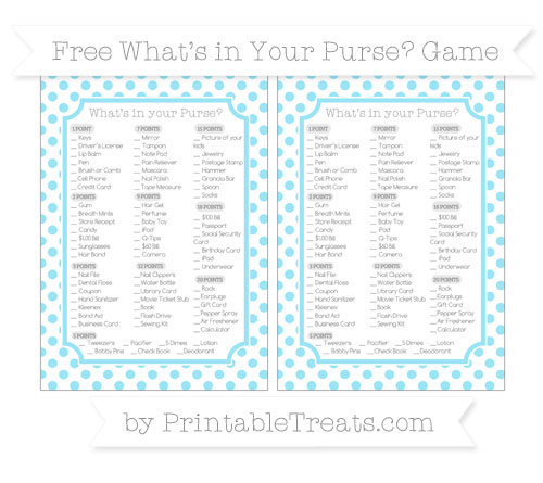 Free Pastel Aqua Blue Dotted Pattern What's in Your Purse Baby Shower Game