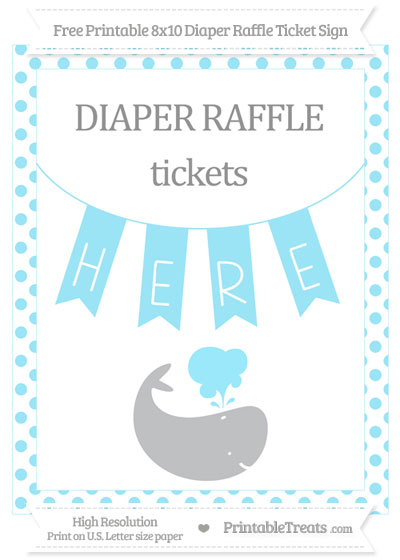 Free Pastel Aqua Blue Dotted Whale 8x10 Diaper Raffle Ticket Sign