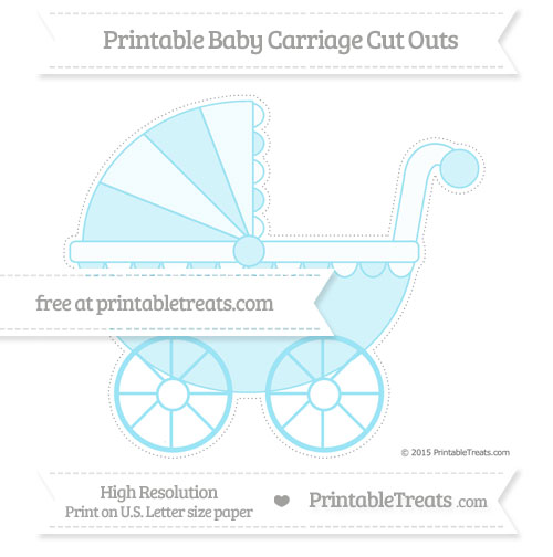 Free Pastel Aqua Blue Extra Large Baby Carriage Cut Outs