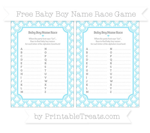 Free Pastel Aqua Blue Fish Scale Pattern Baby Boy Name Race Game