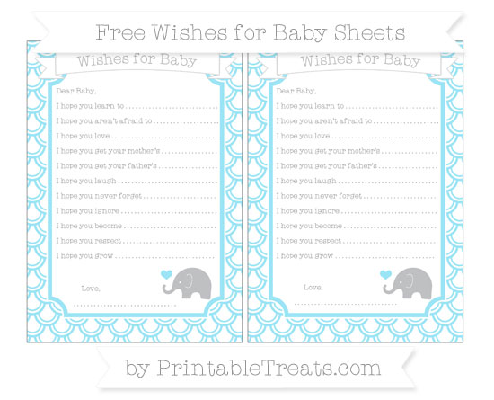Free Pastel Aqua Blue Fish Scale Pattern Baby Elephant Wishes for Baby Sheets