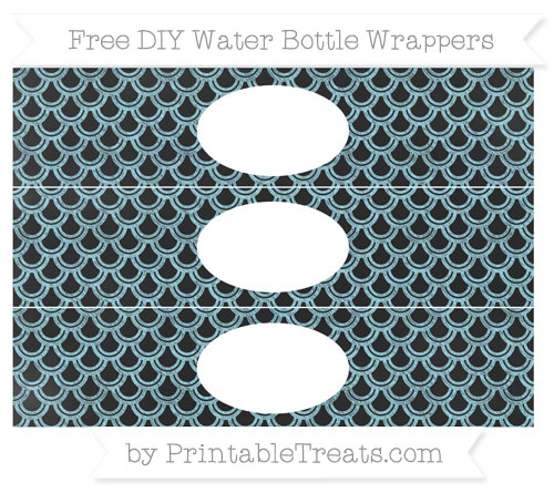 Free Pastel Aqua Blue Fish Scale Pattern Chalk Style DIY Water Bottle Wrappers
