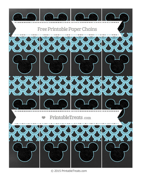 Free Pastel Aqua Blue Fish Scale Pattern Chalk Style Mickey Mouse Paper Chains