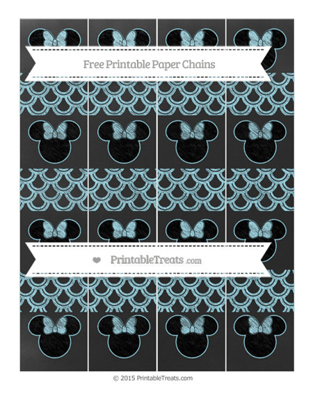 Free Pastel Aqua Blue Fish Scale Pattern Chalk Style Minnie Mouse Paper Chains