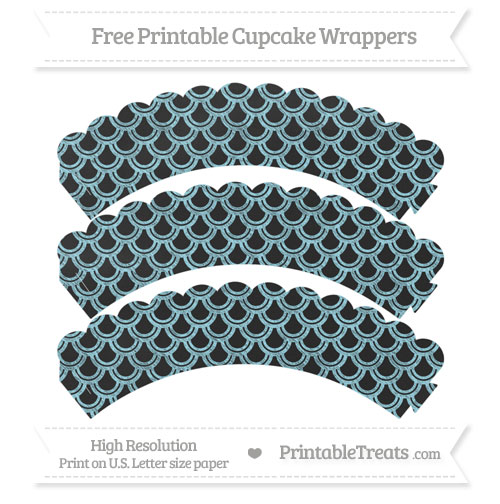 Free Pastel Aqua Blue Fish Scale Pattern Chalk Style Scalloped Cupcake Wrappers