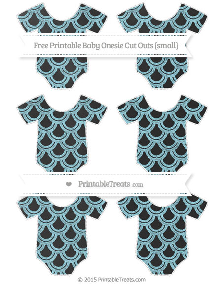 Free Pastel Aqua Blue Fish Scale Pattern Chalk Style Small Baby Onesie Cut Outs