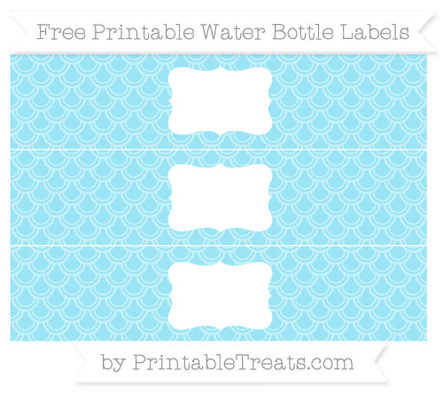Free Pastel Aqua Blue Fish Scale Pattern Water Bottle Labels