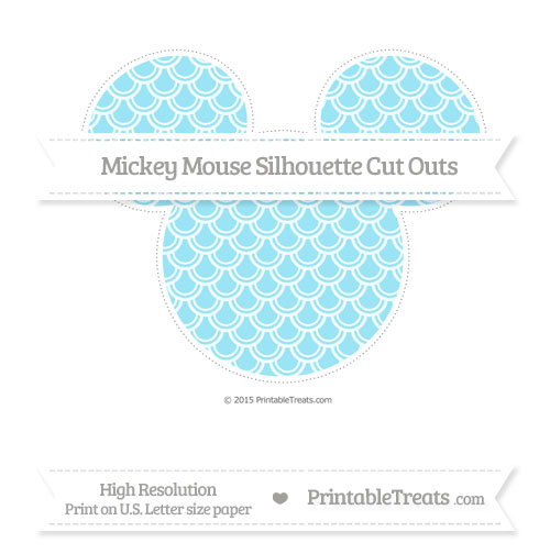 Free Pastel Aqua Blue Fish Scale Pattern Extra Large Mickey Mouse Silhouette Cut Outs