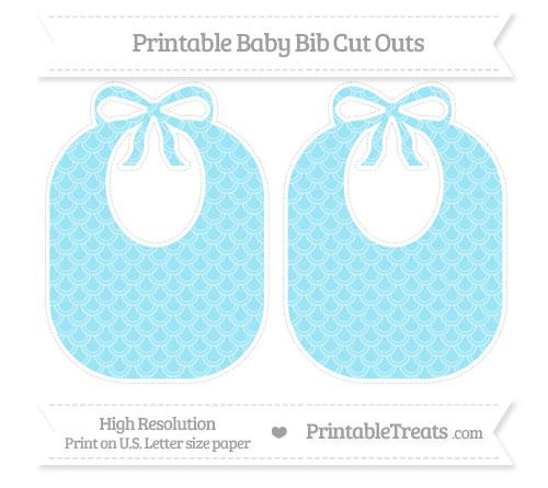 Free Pastel Aqua Blue Fish Scale Pattern Large Baby Bib Cut Outs