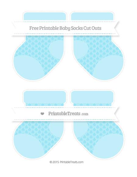 Free Pastel Aqua Blue Fish Scale Pattern Medium Baby Socks Cut Outs