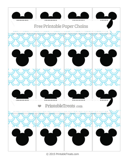Free Pastel Aqua Blue Fish Scale Pattern Mickey Mouse Paper Chains